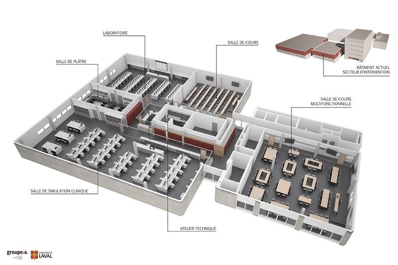 plan en 3D du futur secteur préclinique