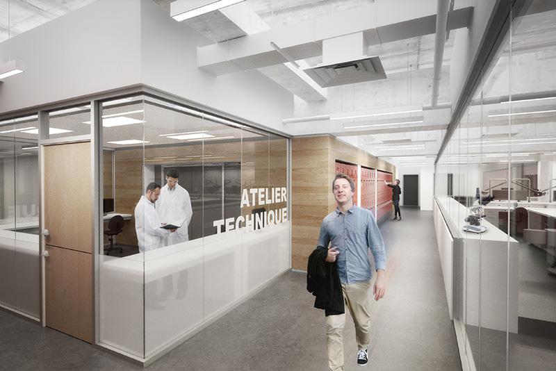 Le futur atelier technique et l'accès au laboratoire